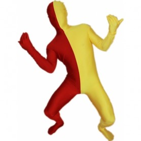 Maroon And Yellow Fullbody Full Body Lycra Spandex Morph Zentai Suits Split Morph Zentai Suit