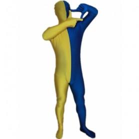 Royal Blue And Yellow Fullbody Full Body Lycra Spandex Morph Zentai Suits Split Morph Zentai Suit