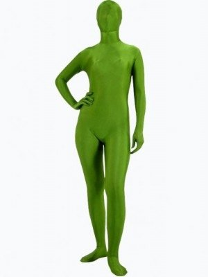 Unicolor Fullbody Full Body Dark Green Army Green Spandex Morph Zentai Suit