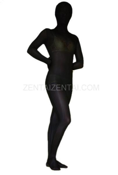 Black Lycra Velvet Morph Zentai Suit