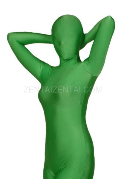 Ideal Unicolor Fullbody Full Body Green Lycra Spandex Morph Zentai Suit
