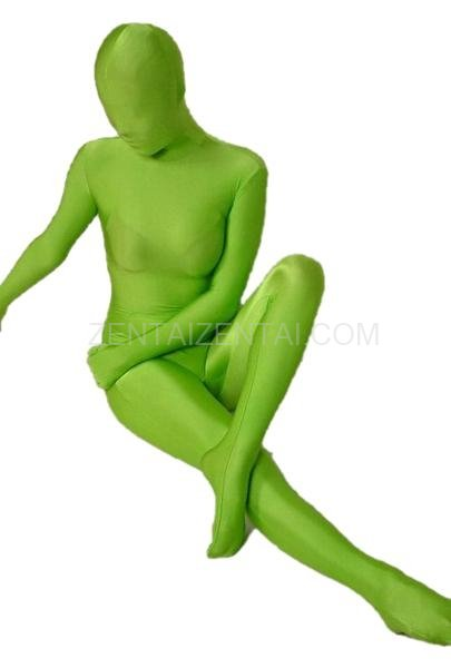 Unicolor Fullbody Full Body Apple Green Lycra Spandex Morph Zentai Suit