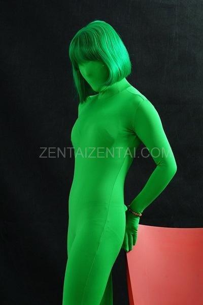 Unicolor Fullbody Full Body Green Lycra Spandex Unisex Morph Zentai Suit