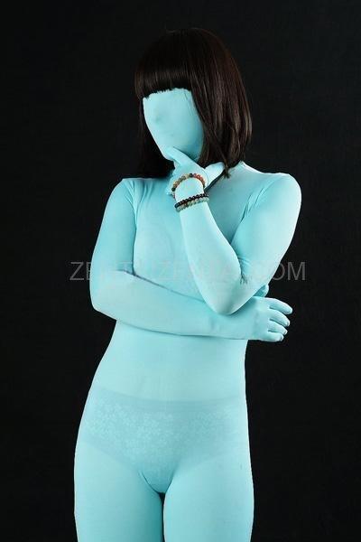 Unicolor Fullbody Full Body Light Blue Lycra Spandex Unisex Morph Zentai Suit