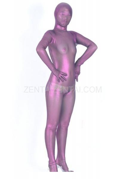 Unicolor Fullbody Full Body Silk Purple Lycra Spandex Morph Zentai Suit