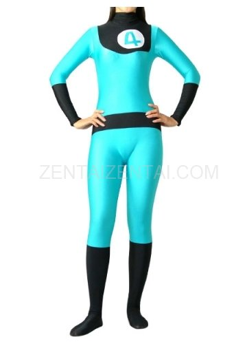 Fantastic 4 Blue And Black Lycra Spandex Unisex  Morph Zentai Suit