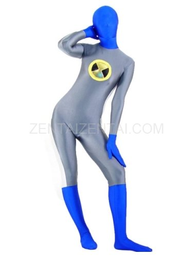 Gray with Blue Lycra Spandex Unisex Morph Zentai Suit