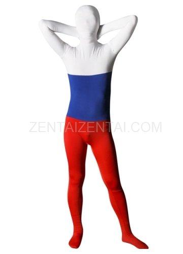 Pattern of Russian Flag Lycra Spandex Unisex Morph Zentai Suit