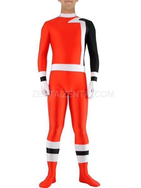 Red with Black Lycra Spandex Unisex Morph Zentai Suit