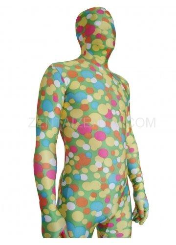 Soft Green Dot Lycra Spandex Unisex Morph Zentai Suit