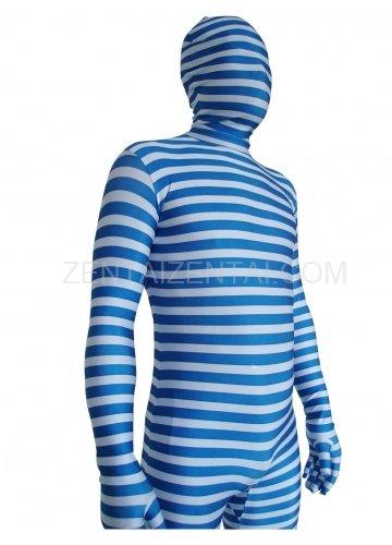 Blue And White Stripe Lycra Unisex Morph Zentai