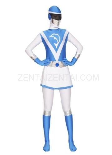 Blue and White Lycra Spandex Women Morph Zentai Suit