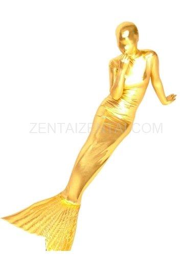 Gold Shiny Metallic Mermaid Trumpet Morph Zentai Suit