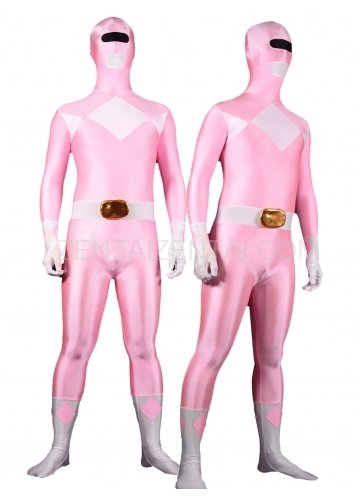 Pink with White Lycra Spandex Unisex Morph Zentai Suit