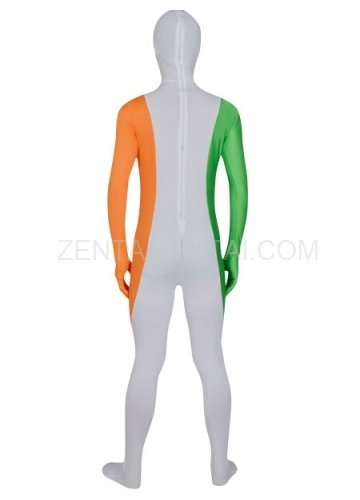 White Orange And Green Lycra Morph Zentai Suit For Men