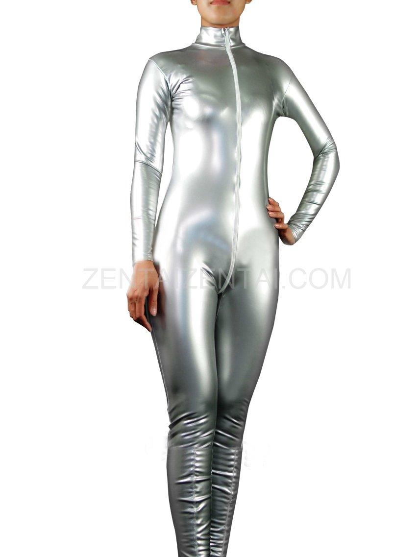 Cool Silver PVC Front Open Unisex Catsuit