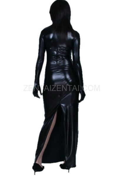 Black PVC Back Open Cheongsam Gown