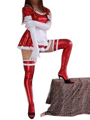 Ideal Red Shiny Metallic Lace Trim Sexy Dress