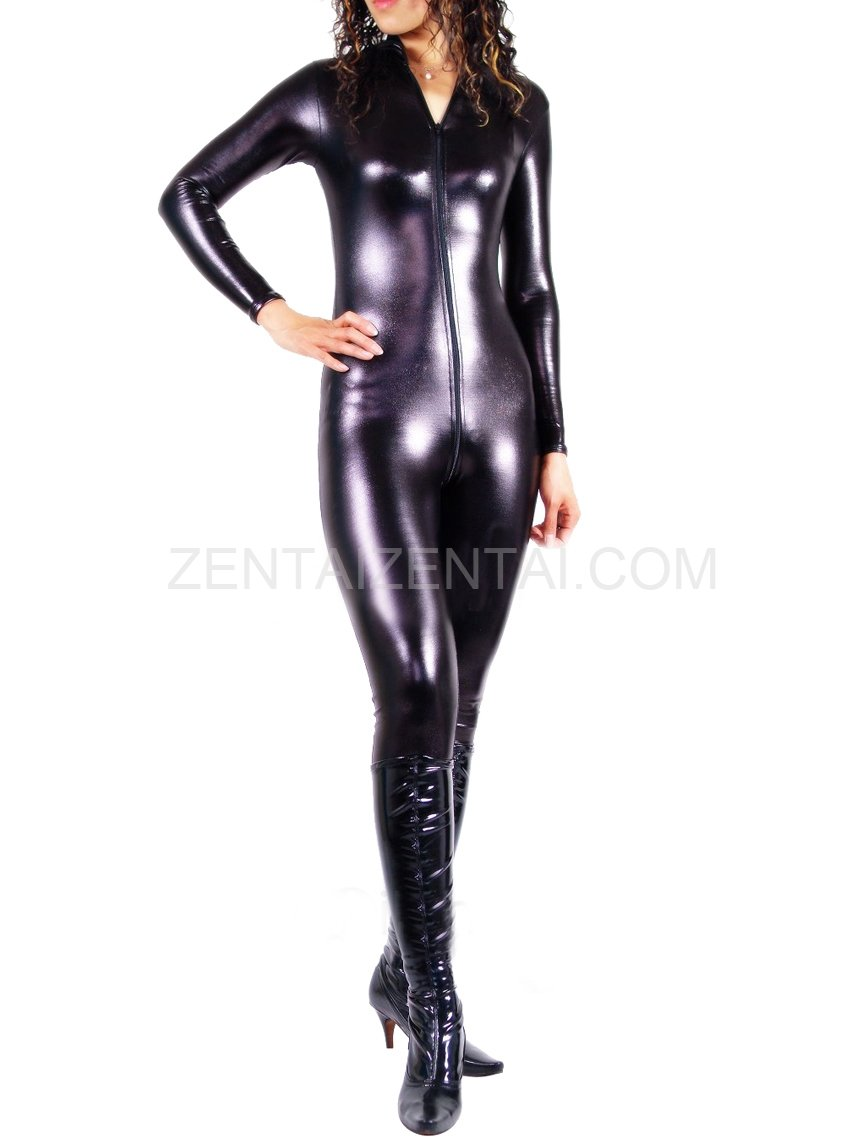 Black Shiny Metallic Front Open Unisex Catsuit