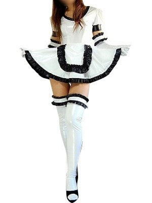 Perfect White Shiny Metallic Lace Trim Sexy Dress