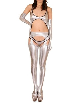 Silver Shiny Metallic Sexy Three-Set Costume