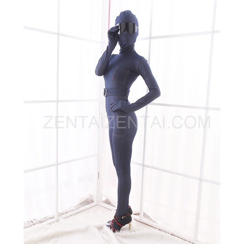 Elastic Stretch Denim Blue Jeans Fashion Morph Zentai Catsuit Tights