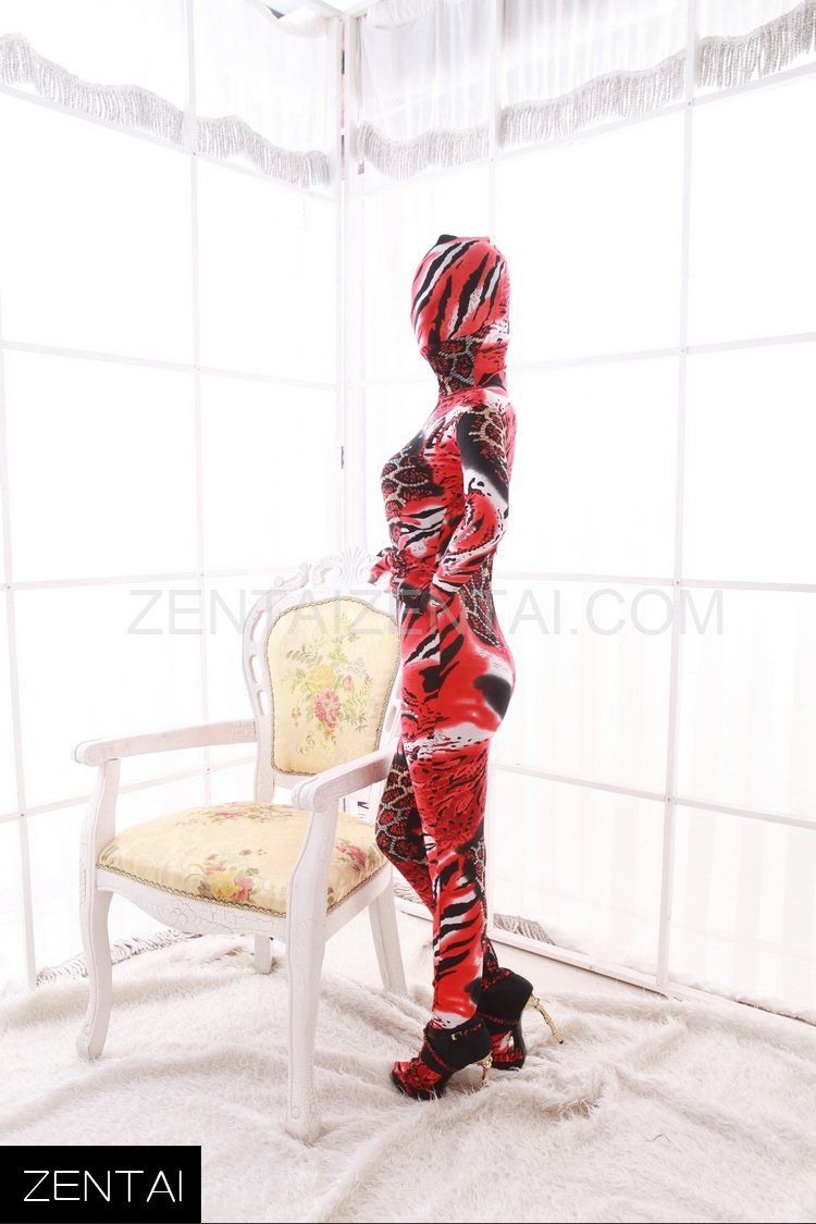 Red Animal Pattern Combination Fullbody Full Body Dupont Morph Zentai Catsuit