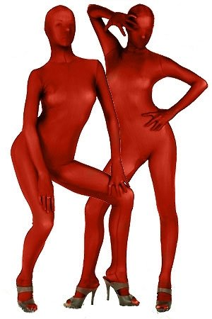 Red Lycra Silk Morph Zentai Catsuit Fullbody Tights