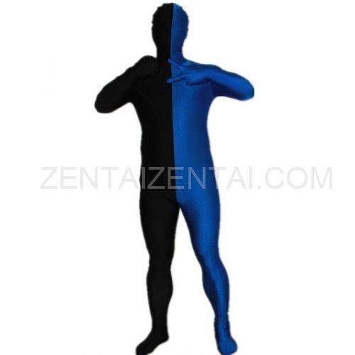 Black And Royal blue Fullbody Full Body Lycra Spandex Morph Zentai Suits Split Morph Zentai Suit