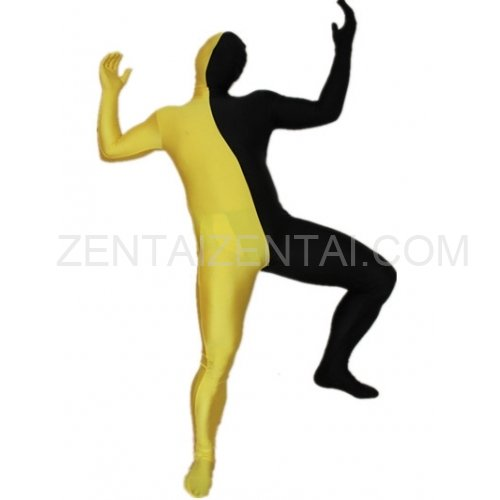 Black And Yellow Fullbody Full Body Lycra Spandex Morph Zentai Suits Split Morph Zentai Suit
