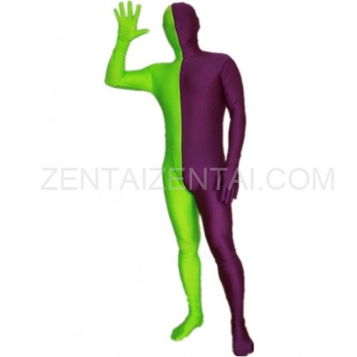 Purple And Lime green Fullbody Full Body Lycra Spandex Morph Zentai Suits Split Morph Zentai Suit