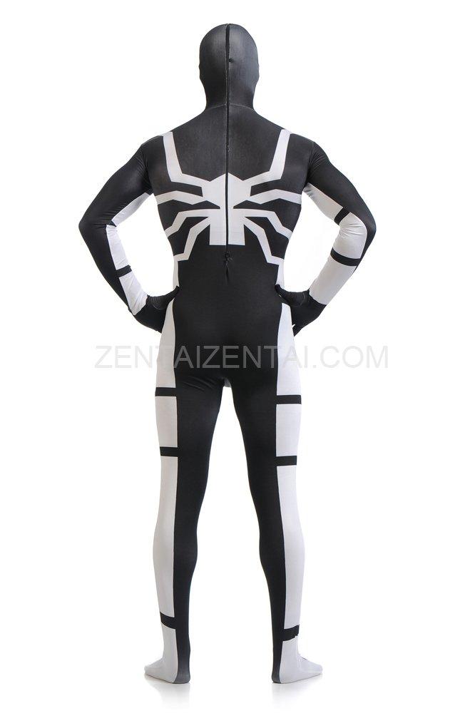 Black and White Spiderman Super Hero Halloween Full Body Spandex Holiday Unisex Lycra Morph Zentai Suit