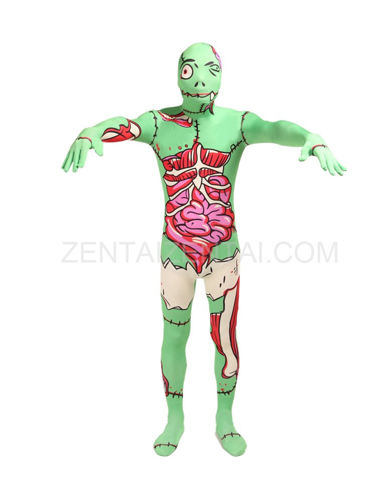 Light Green X Ray Human Anatomy Full Body Halloween Spandex Holiday