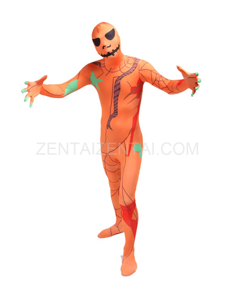 Orange Pumpkin Human Anatomy Full Body Halloween Spandex Holiday