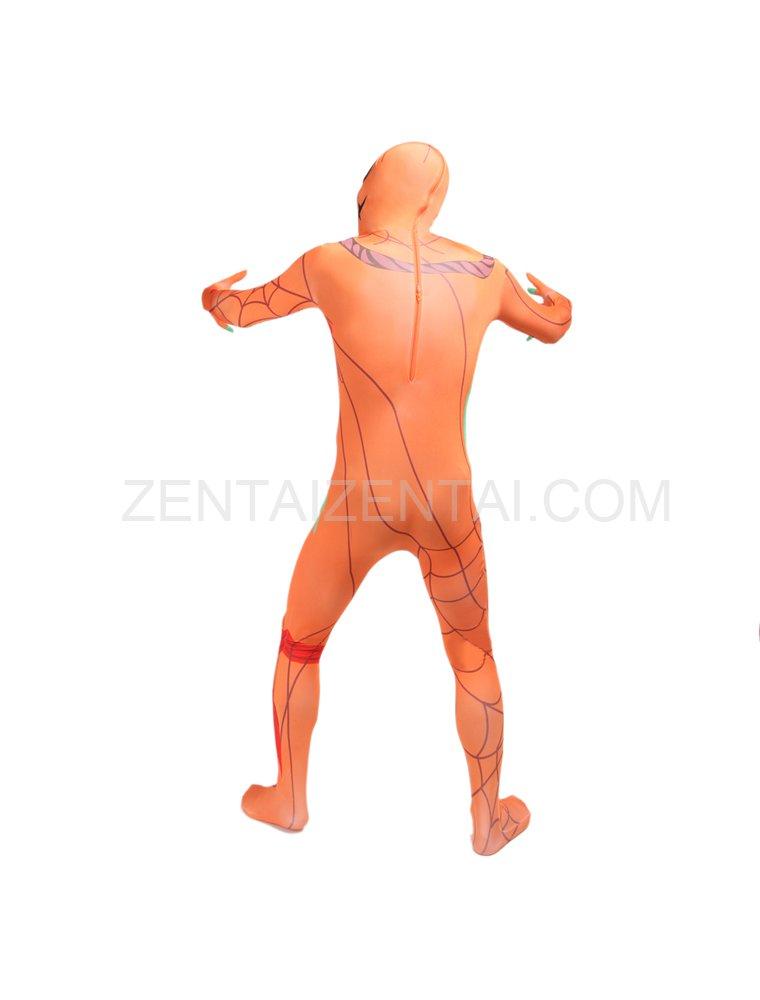 Orange Pumpkin Human Anatomy Full Body Halloween Spandex Holiday