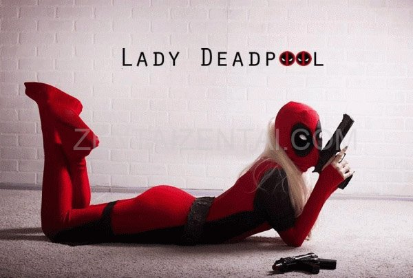 Lady Black and Red Deadpool Spandex Body Suit with Ponytail Hole