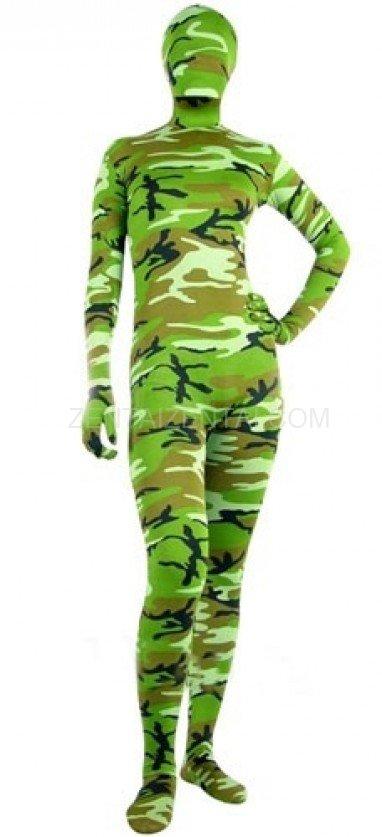 Fullbody Full Body Green Soldier Camouflage Morph Zentai suit