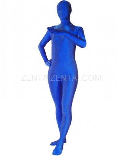 Unicolor Blue Lycra Spandex  Morph Zentai Suit