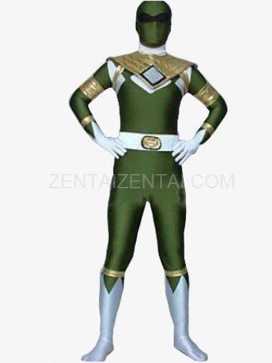 Green And White Shiny Metallic Morph Zentai Suit