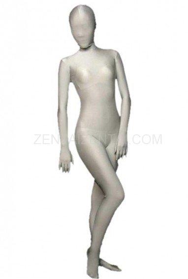 Greyish White Lycra Spandex Morph Zentai Suit