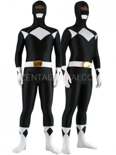 Black with White Lycra Spandex Unisex Morph Zentai Suit