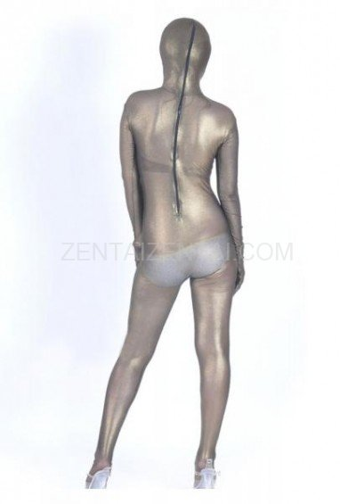 Brown Silk Lycra Spandex Morph Zentai Suit