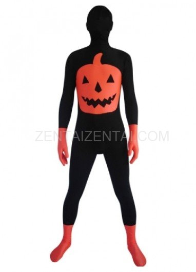 Black And Orange Pumpkin Lycra Spandex  Morph Zentai Suit