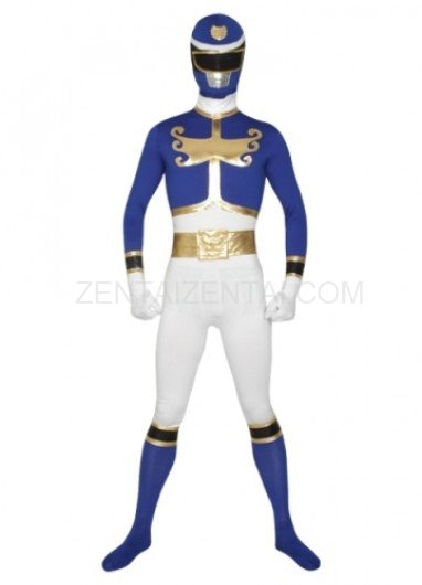 Blue And White Super Hero Lycra Morph Zentai Suit