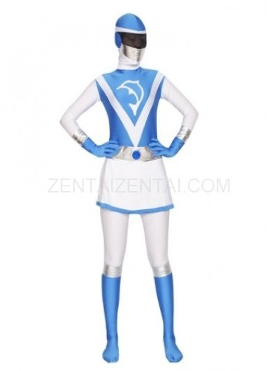 Blue and White Lycra Spandex Women Morph Zentai Suit