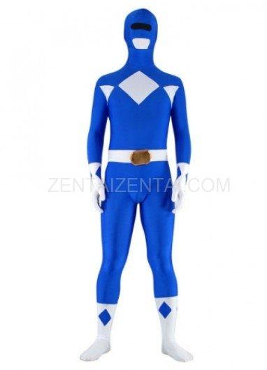 Blue with White Lycra Spandex Super Hero Unisex  Morph Zentai Suit