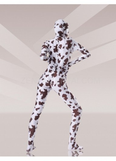 Brown And White Cow Lycra Spandex Unisex Morph Zentai Suit