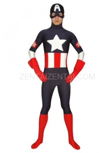 Indigo with Red Super Hero Lycra Spandex Morph Zentai Suit