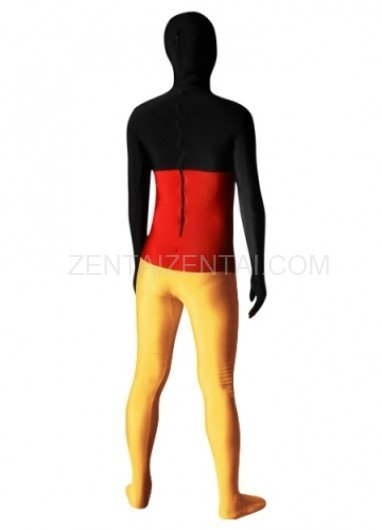 Pattern of German Flag Lycra Spandex Unisex Morph Zentai Suit