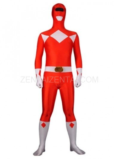 Red with White Lycra Spandex Super Hero Morph Zentai Suit